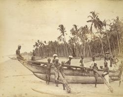 Singhalese Boatmen and Catamarans on the coast of Ceylon